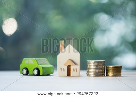 Home Car Loan And Cost Of Living For Investment Real Estate Concept. Saving Mortgage New House Leasi