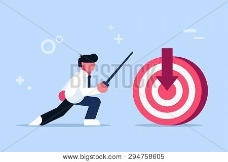 Right On Target. Perfect Hit. Man Hits The Target Cent. Fencing Lesson. Possession Of Weapons. Flat