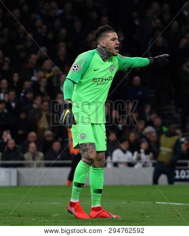 LONDON, ENGLAND: 09 MAR 2019. Ederson of Man City during the UEFA Champions League Quarter Final, First Leg match