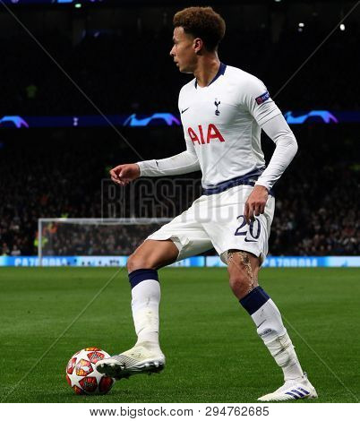 LONDON, ENGLAND: 09 MAR 2019. Dele Alli of Tottenham during the UEFA Champions League Quarter Final, First Leg match