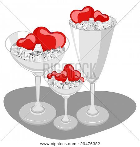 Vector illustration of red heart shapes in a wine glass with ice cube on white background for Valentines Day and other occasions.