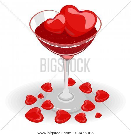 vector illustration of heart wine glas fill with wine and heart ice cube on white isolated background for Valentines Day and other occasions.