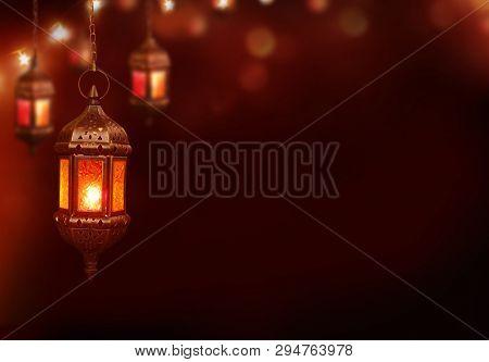 Islamic greeting  Eid Mubarak cards for Muslim Holidays.Eid-Ul-Adha festival celebration.Arabic Ramadan Lantern .Decoration lamp