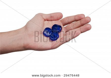 Male Hand Holding Three glass chips