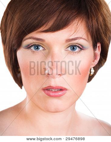 Closeup Portrait Of Beautiful young woman isolated on white