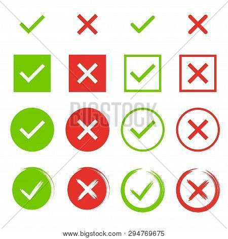 Set Of Chek Marks. Yes Or No Accept And Decline Symbol. Buttons For Vote, Election Choice. Empty, Sq