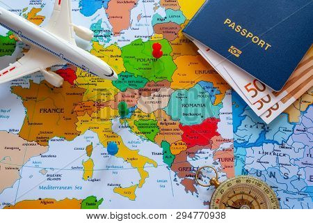 Map Of Europe With Passport And Compass For Travel.
