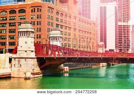 Bridge Lasalle Blvd Over Chicago River In Downtown