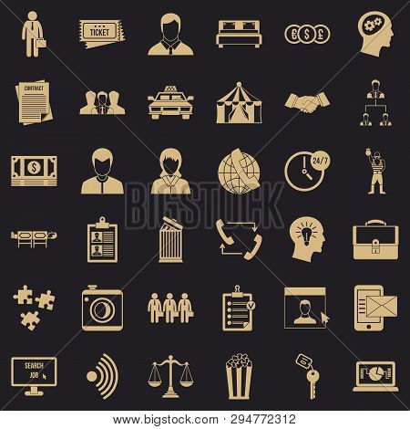 Conformity In Work Icons Set. Simple Style Of 36 Conformity In Work Vector Icons For Web For Any Des