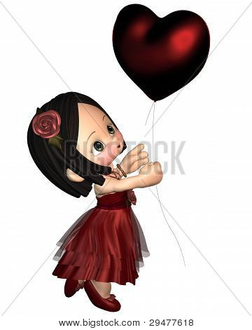 Cute Toon Valentine Girl with Balloon