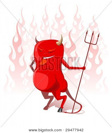 Illustration of red devil with trident in hell flames