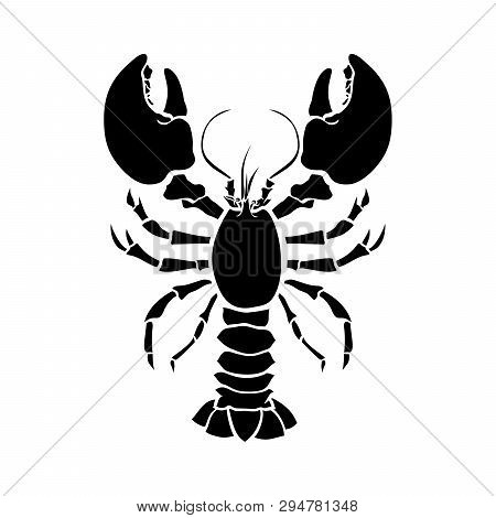 Lobster, Crustacean Silhouette Vector Drawing. Crayfish Hand Drawn Illustration. Seafood Restaurant