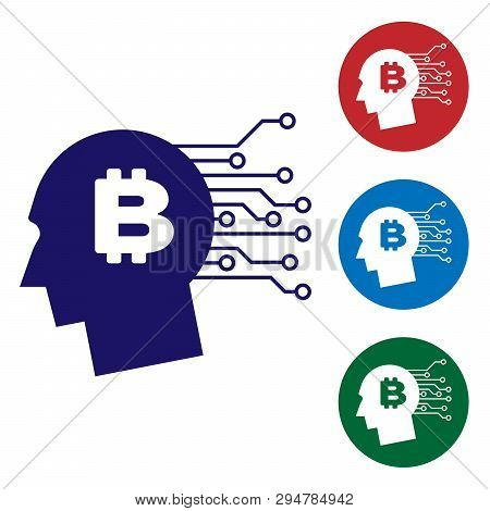 Blue Bitcoin Think Icon On White Background. Cryptocurrency Head. Blockchain Technology, Bitcoin, Di