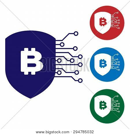 Blue Shield With Bitcoin Icon On White Background. Cryptocurrency Mining, Blockchain Technology, Bit