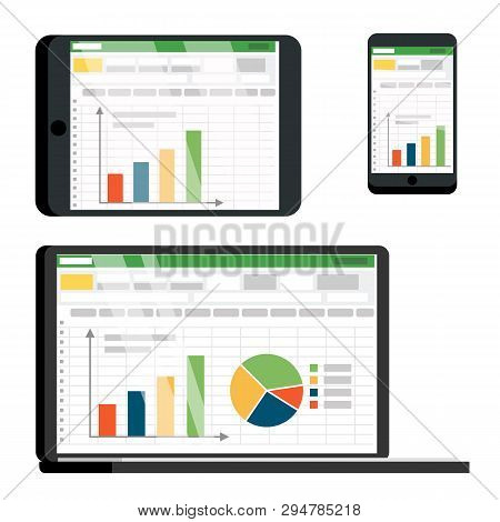 Spreadsheet Table On Tablet, Smartphone Vector Screen Set. Spreadsheet With Infographics, Pie Chart,
