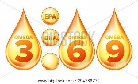 Omega Fatty Acid, Epa, Dha Vector Drops Set. Omega Three, Six And Nine Isolated Cliparts Pack. Natur
