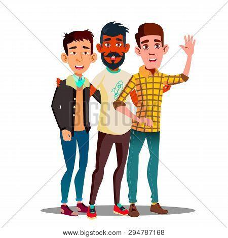 Brotherhood, Multiethnic Male Friends Vector Cartoon Characters. Brotherhood, Friendship Clipart. As
