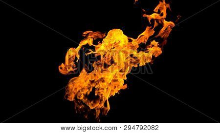 Fire Flames On Black Background. Fire On Black Background Isolated. Fire Patterns.