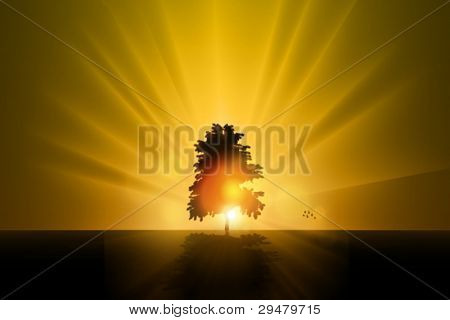 Stock Vector Illustration: the lonely tree - vector illustration