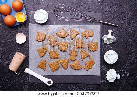 Making Cookies In Form Rocket, Ufo, Alian And Astronaut For World Cosmonautics Day, 12 Apri.