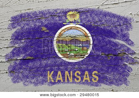 Flag Of Us State Of Kansas On Grunge Wooden Texture Precise Painted With Chalk