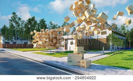 Liability for broken boxes when moving house contents insurance concept (3D Rendering)