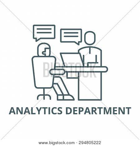 Analytics Department Line Icon, Vector. Analytics Department Outline Sign, Concept Symbol, Flat Illu