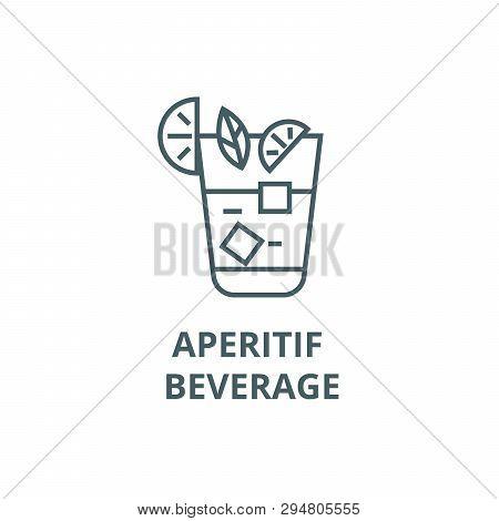 Aperitif, Beverage Line Icon, Vector. Aperitif, Beverage Outline Sign, Concept Symbol, Flat Illustra