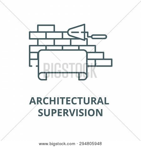 Architectural Supervision Line Icon, Vector. Architectural Supervision Outline Sign, Concept Symbol,