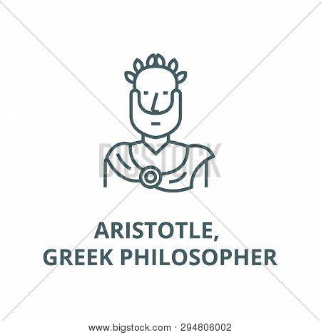 Aristotle, Greek Philosopher Line Icon, Vector. Aristotle, Greek Philosopher Outline Sign, Concept S