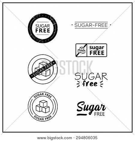 Sugar Free Icons On White Background. Sugar Free Drawn Isolated Sign Icon Set. Healthy Lettering Sym