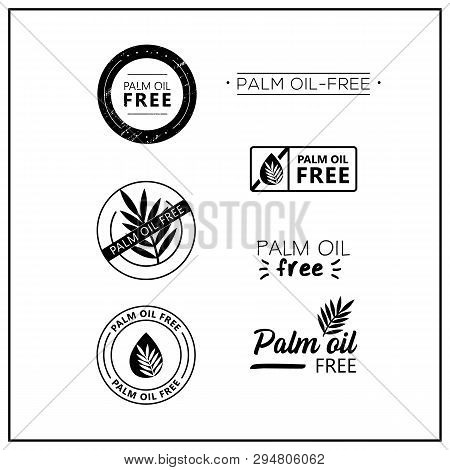 Palm Oil Free Icons On White Background. Palm Oil-free Drawn Isolated Sign Icon Set. Healthy Letteri
