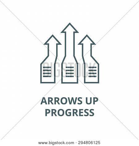 Arrows Up, Progress Line Icon, Vector. Arrows Up, Progress Outline Sign, Concept Symbol, Flat Illust