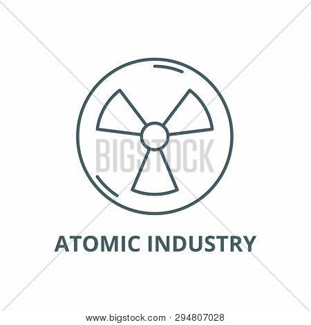 Atomic Industry Line Icon, Vector. Atomic Industry Outline Sign, Concept Symbol, Flat Illustration