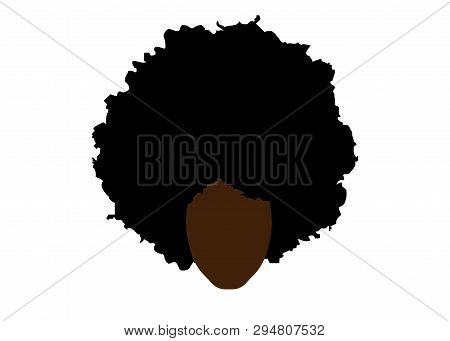 Curly Afro Hair, Portrait African Woman , Dark Skin Female Face With Ethnic Traditional Curly Hair A