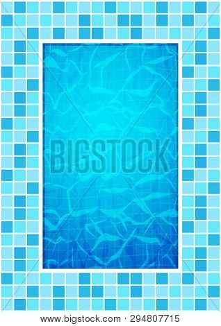 Swimming Pool Bottom Caustics Ripple And Flow With Waves Background. Texture Of Water Surface. Overh