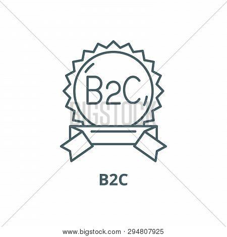 B2c line icon, vector. B2c outline sign, concept symbol, flat illustration poster