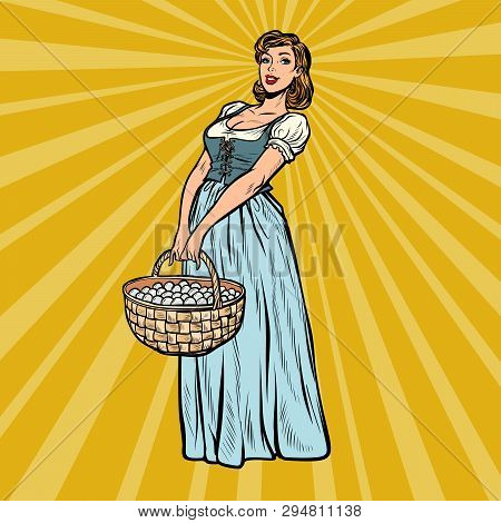 village woman with a basket of eggs. Pop art retro vector illustration vintage kitsch 50s 60s poster