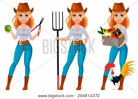 Young Pretty Farmer Woman In Cowboy Hat. Cheerful Gardener Woman Cartoon Character Holding Secateurs