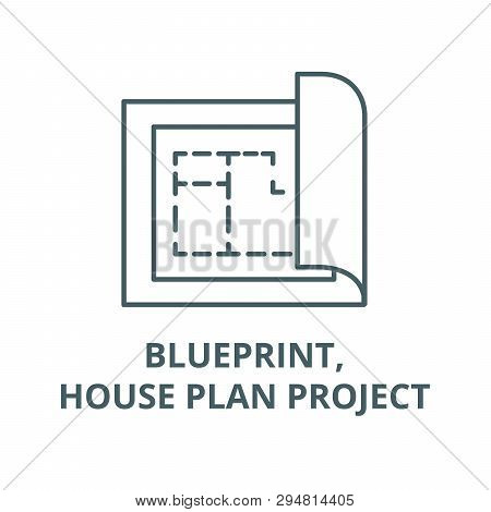 Blueprint, House Plan Project Line Icon, Vector. Blueprint, House Plan Project Outline Sign, Concept