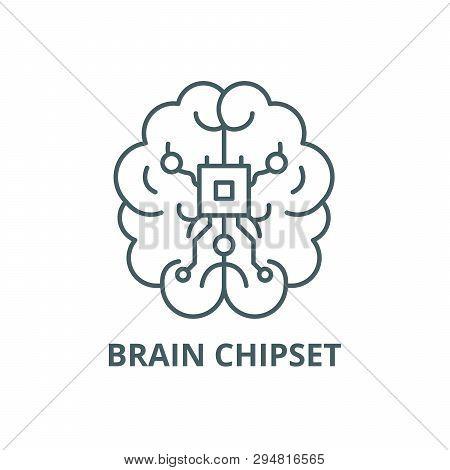 Brain Chipset Line Icon, Vector. Brain Chipset Outline Sign, Concept Symbol, Flat Illustration
