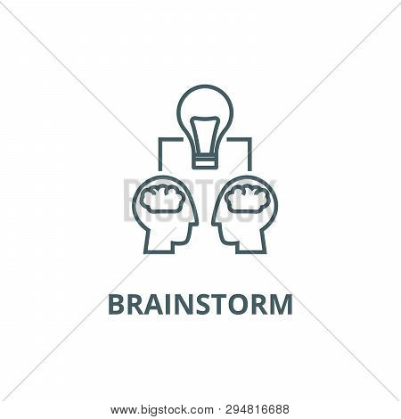 Brainstorm Illustration,  Line Icon, Vector. Brainstorm Illustration,  Outline Sign, Concept Symbol,