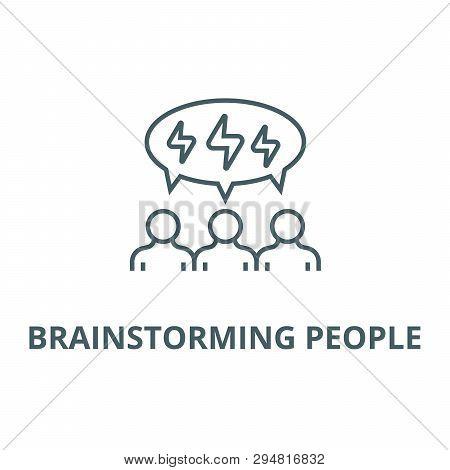 Brainstorming People Line Icon, Vector. Brainstorming People Outline Sign, Concept Symbol, Flat Illu