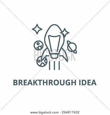 Breakthrough Idea Line Icon, Vector. Breakthrough Idea Outline Sign, Concept Symbol, Flat Illustrati