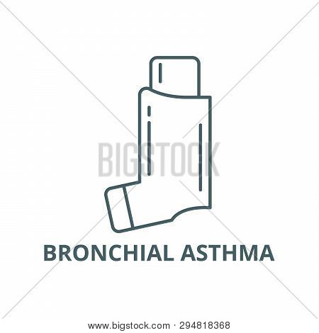 Bronchial Asthma Line Icon, Vector. Bronchial Asthma Outline Sign, Concept Symbol, Flat Illustration