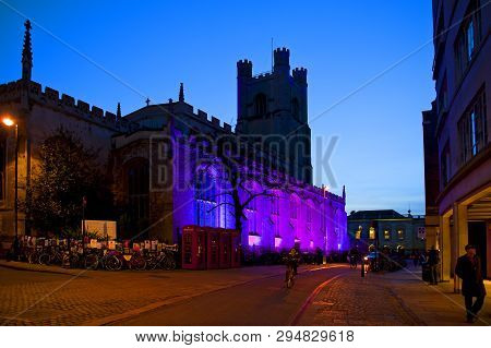 Cambridge, England - February 16, 2016: City Center At Night With Great St. Marys Church In Cambridg