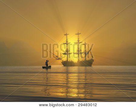 ancient vessel at sunrise