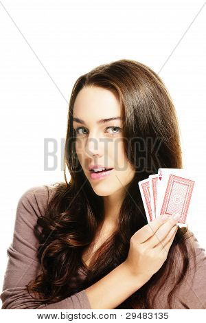 beautiful woman with poker cards