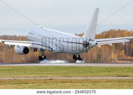 Wide-body airplane landing on runway with smoke from chassis, back view/ Touchdown with landing gear smoke/ Aviation, travel, transportation concept poster