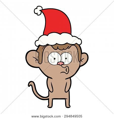 hand drawn line drawing of a hooting monkey wearing santa hat poster